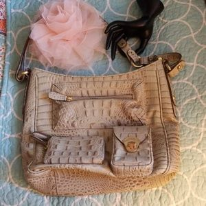 Brahmin beige alligator  bag